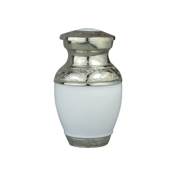 Miniature White and Silver Enamel Keepsake Urn - ETM01