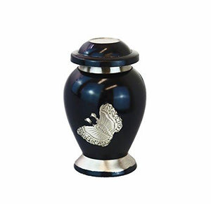 Miniature Black and Silver Butterfly Keepsake Urn - ETM04