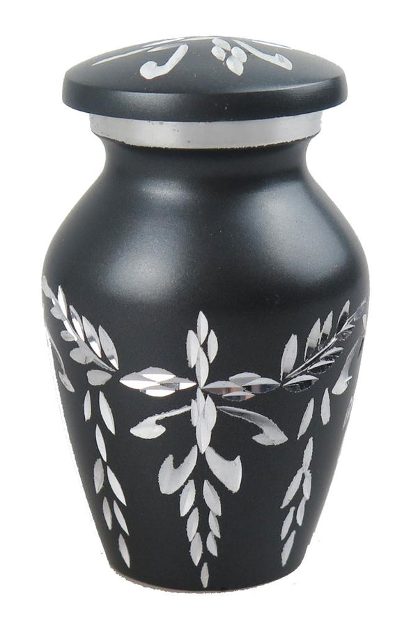 Miniature Grey & Silver Diamond Cut Keepsake Urn - ETM12