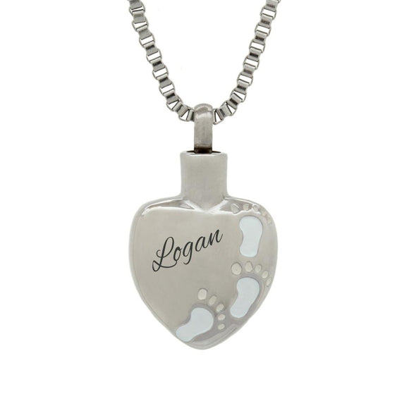 Footprints on Heart Personalised Cremation Ashes Pendant - ETJ01