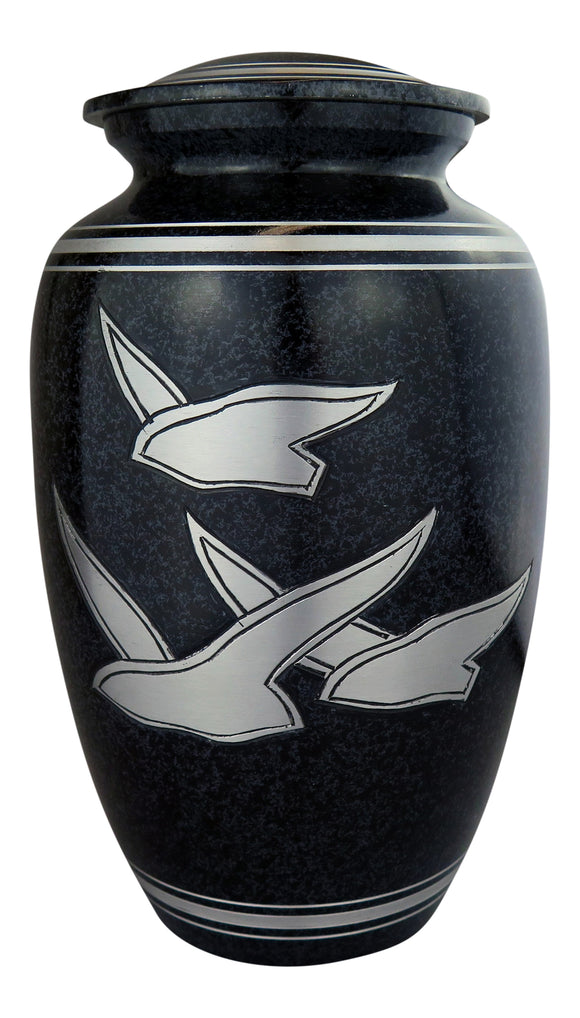 Large Black & Silver Flying Birds Urn - ETL07