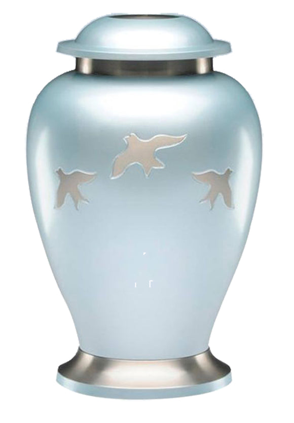 Large Blue with Silver Flying Birds Urn - ETL23