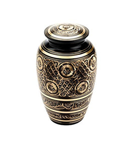 Large Black & Gold Vintage Urn - ETL21