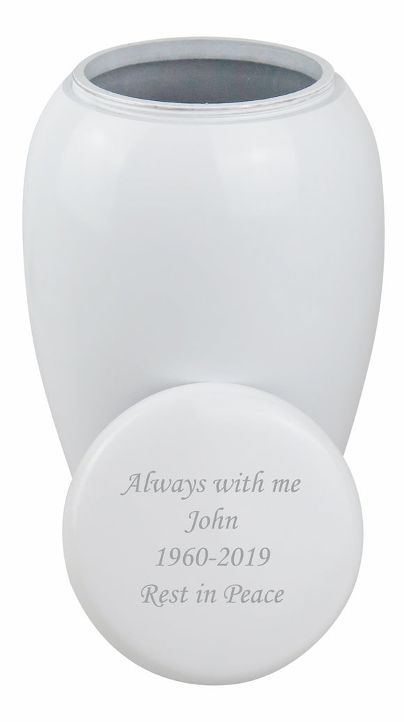 Large Classic White Urn with Optional Personalised Engraving - ETL05