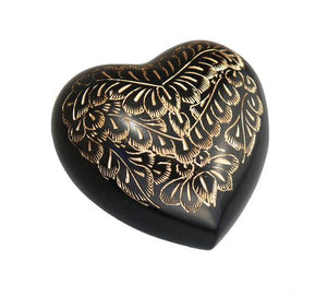 Vintage Black and Gold Pattern Heart Keepsake Urn - ETH05