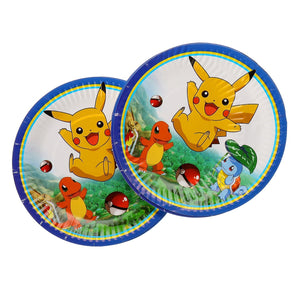 Suitable For 20 People Kids Birthday Party 1Set Party Paper Pikachu Pokemon Go Decorative Paper