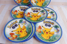 Load image into Gallery viewer, 61pcs/lot cartoon Pikachu/Pokemon Party kids birthday theme party and party decoration disposable tableware set for 20 people