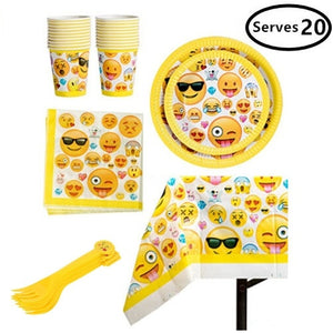 Emoji Birthday Party Supplies - Including Custom Plates, Cups, Napkins, and Tablecloth, Serves 20