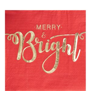 Merry & Bright Foiled Paper Napkins - 33cm