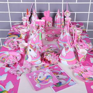 Unicorn Theme Party Decoration Happy Birthday Party Supplies