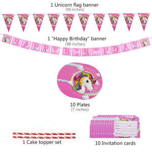 Unicorn Party Supplies Set with Disposable Tableware, Cake Toppers, Party Hanging Decoration Kit, Blowouts, Eye Masks, Invitatio