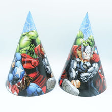 Load image into Gallery viewer, The Avengers Theme Cartoon Party Set Balloon Tableware Plate Napkins Banner Birthday Candy Box Baby Shower Party Decoration