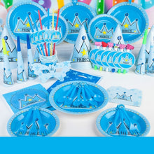 Load image into Gallery viewer, 90 Pcs Boys Blue Prince Crown Cartoon Theme Tableware Set for Kids Children Boys Wedding Birthday Party Decoration For 6 People