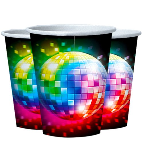 70s Disco Fever Cups - 266ml Paper Party Cups