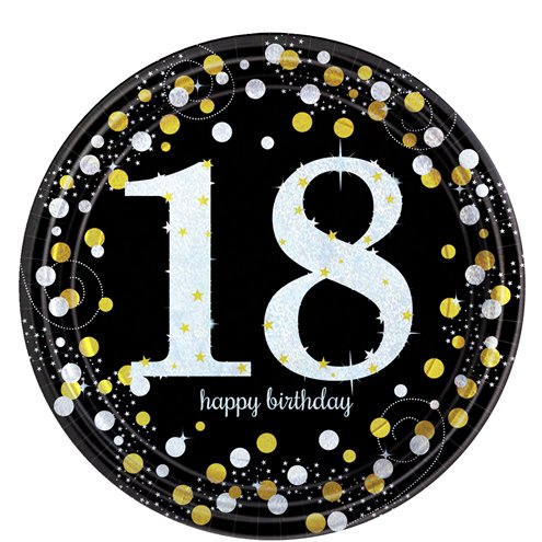 Sparkling Celebration Age 18 Plates - 23cm Paper Party Plates