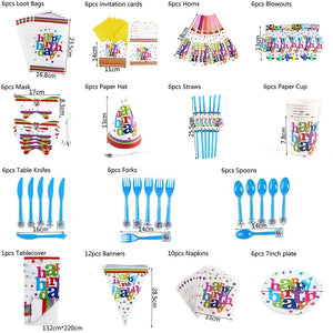 Fashion Tableware Decor Baby Shower Tablecloth Gift Bags Happy Birthday Banners