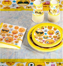 Load image into Gallery viewer, Emoji Birthday Party Supplies - Including Custom Plates, Cups, Napkins, and Tablecloth, Serves 20
