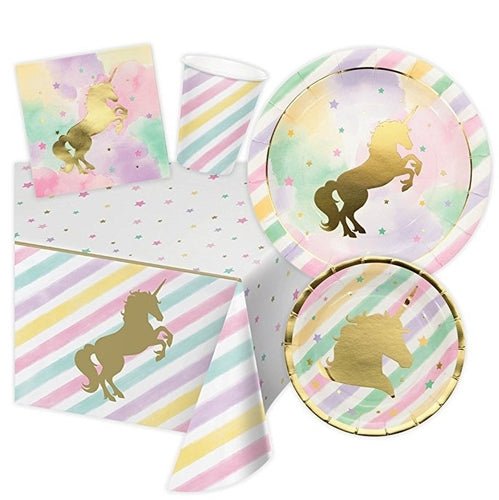 Unicorn Themed Birthday Party Supplies, Serves 16 Guests - 16 Dinner Plates, 16 Dessert Plates, 16 Napkins, 16 Cups and 1 Tablec