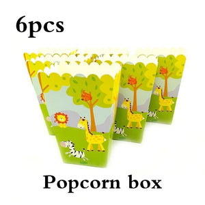 Kid Birthday Party Supplie Tableware Baby Shower Jungle Animals Theme Cartoon Disposable Cute