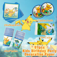 Load image into Gallery viewer, Party Decorative Paper Suitable For 20 People 61pcs Pikachu Pokemon Go Kids Birthday