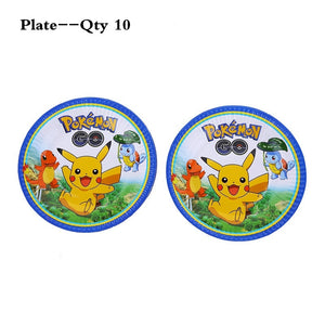 Pokemon Theme Party Supplies Birthday Party Decoration Pikachu Disposable Tableware Set