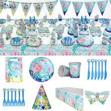 Load image into Gallery viewer, Mermaid Theme Party Baby Shower Birthday Decoration Tableware Favor Happy Birthday Party Supplies
