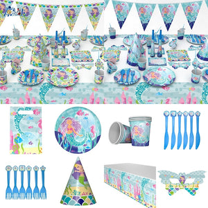 Mermaid Theme Party Baby Shower Birthday Decoration Tableware Favor Happy Birthday Party Supplies