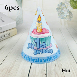 Happy Baby Shower 1st Birthday Party Decor Straws Plates Cups Disposable Tableware Fashion Kids Theme