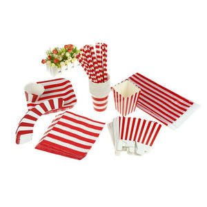 Paper Disposable Tableware Red Striped Plates Cups Wedding Birthday Party Decor upgrade