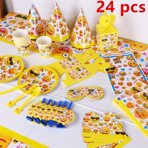 24 Pcs Baby Shower Party Decoration Emoji Theme Cartoon Party Set Balloon Tableware Plate Napkins Banner Birthday