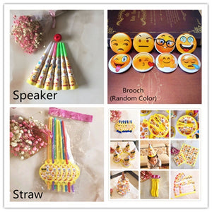 Baby Shower Party Decoration Emoji Theme Cartoon Party Set Balloon Tableware Plate Napkins Banner Birthday