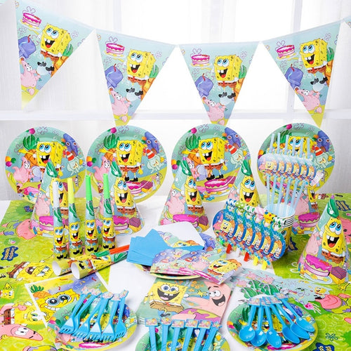 12 Pieces Cartoon SpongeBob Theme Kids Birthday Party Baby Shower Party Tools Set Wedding Festival Decoration