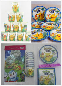61pcs/lot cartoon Pikachu/Pokemon Party kids birthday theme party and party decoration disposable tableware set for 20 people
