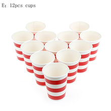 Load image into Gallery viewer, Paper Disposable Tableware Red Striped Plates Cups Wedding Birthday Party Decor upgrade