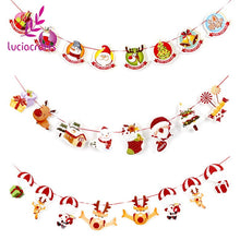 Load image into Gallery viewer, Lucia Craft 1set/lot(8pcs) 2.5m Christmas Banners Pattern Garland Wall DIY Ornaments Xmas Party Decorations Supplies 058001011