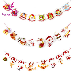 Lucia Craft 1set/lot(8pcs) 2.5m Christmas Banners Pattern Garland Wall DIY Ornaments Xmas Party Decorations Supplies 058001011