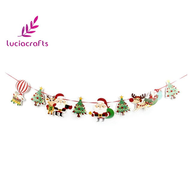 Christmas Banners.Lucia Craft 1set Lot 8pcs 2 5m Christmas Banners Pattern Garland Wall Diy Ornaments Xmas Party Decorations Supplies 058001011