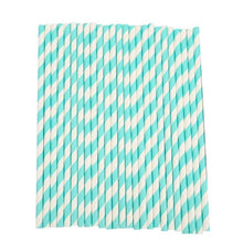 Load image into Gallery viewer, 25Pcs Disposable Paper Straws Stripe Drinking Straws for Party Birthday Wedding Decoration New Year Party Supplies