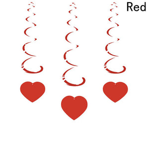 6pcs/pack Party Decoration Love Heart Curtain Romantic Valentine Hearts Ornaments For Home Wedding