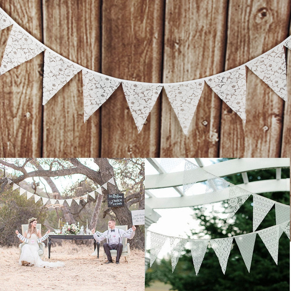 3.2M 12 Flags Party Banners Lace Pennant Bunting for Wedding Decoration DIY Garland Birthday Christmas Party Supplies