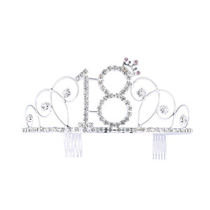 No.18 Crystal Birthday Crown Girl Tiara Princess Crown Hair Accessories Happy 30th Birthday