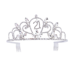 21th Birthday Party Rhinestone Crystal Tiara Crown with Side Hair Combs for Sweet 21 Birthday Party Headwear Accessories