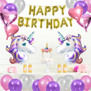 Unicorn Balloons Set Birthday Party Supplies For Kids Birthday Baby Home Decor