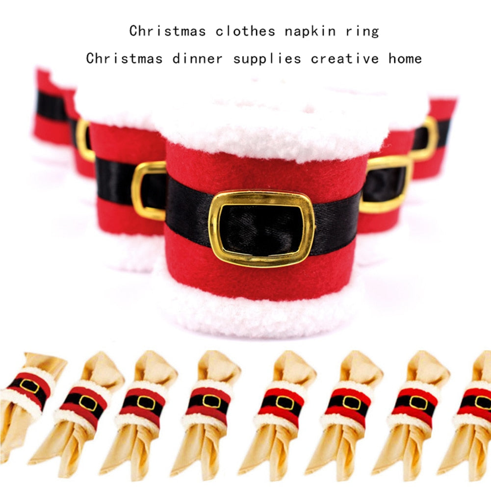 6Pcs Christmas Decoration Napkin Ring Dinner Tableware Santa Claus Table Decoration for Home Party New Year Products