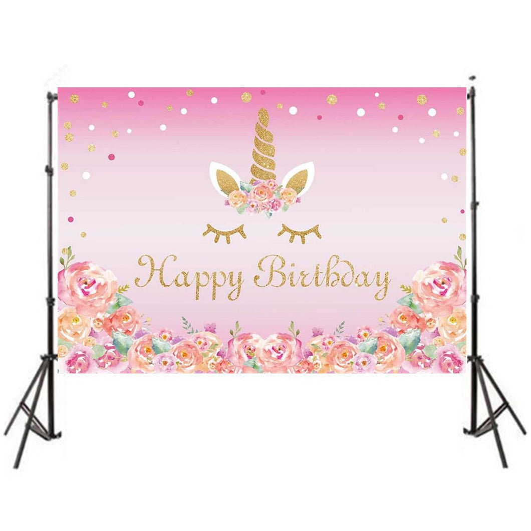 7x5ft Beautiful Flower Birthday Unicorn Studio Photography Background Backdrop