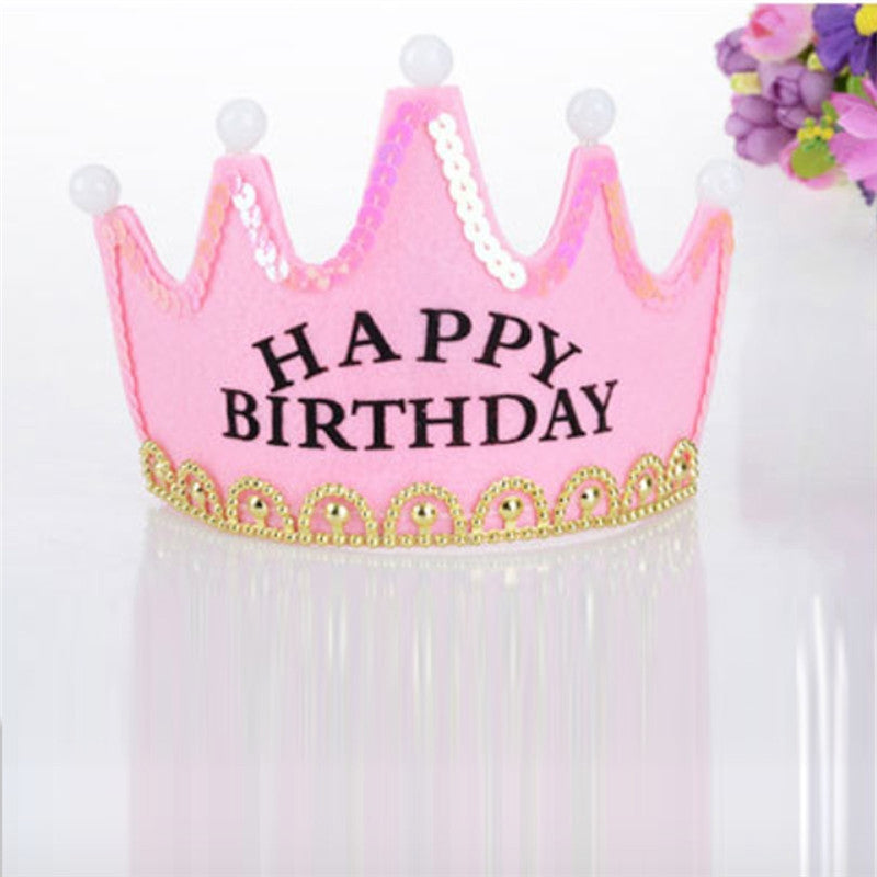 Led Light Birthday Party Crown Craft Tiaras for Birthday Party (Pink)