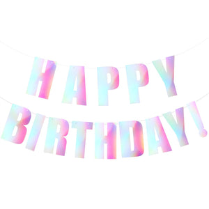 2.4M Happy Birthday Shiny Bunting Banner Double-layer Hanging Garland Decoration Birthday Party Supplies