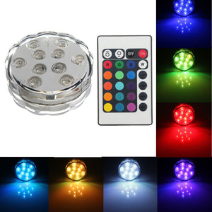 10LED Waterproof RGB Colors Submersible Christmas Party Vase Base Light+Remote