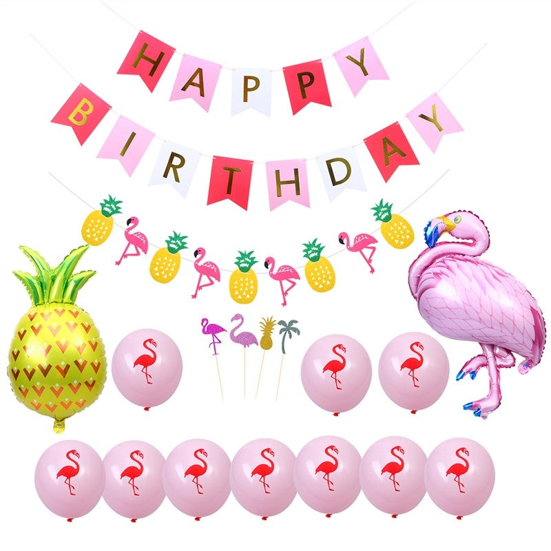 18pcs Summer Birthday Party Decorations Kit Pineapple Flamingo Party Supplies