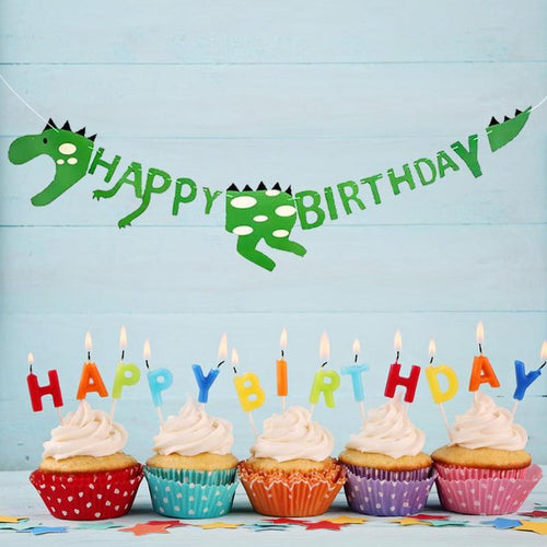 132cm Happy Birthday Banners Cute Dinosaur Banners for Baby Shower Birthday Party Decoration Kids Event Party Supplies